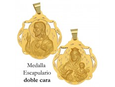 MEDALLA ESCAPULARIO DE ORO 18 KILATES 41 MM
