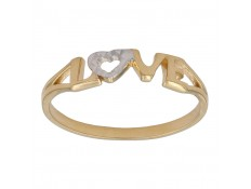 ANILLO DE LOVE EN ORO BICOLOR 18 KILATES