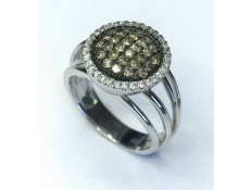 ANILLO DE ORO BLANCO CON DIAMANTES Y DIAMANTES BROWN