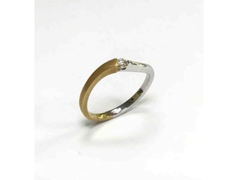 ANILLO ORO BLANCO Y AMARILLO CON DIAMANTE