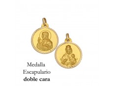 MEDALLA ESCAPULARIO DE ORO 18 KILATES 14 MM