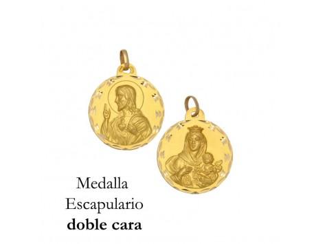 MEDALLA ESCAPULARIO DE ORO 18 KILATES 13 MM