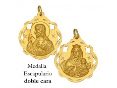 MEDALLA ESCAPULARIO DE ORO 18 KILATES 30 MM