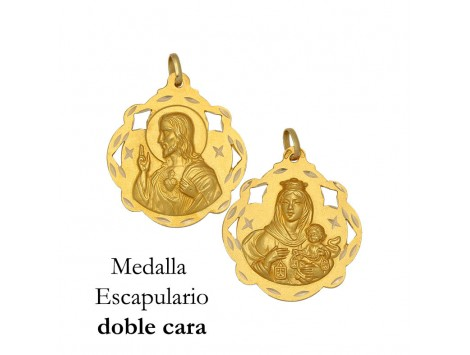 MEDALLA ESCAPULARIO DE ORO 18 KILATES 20 MM