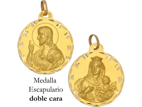 MEDALLA ESCAPULARIO DE ORO 18 KILATES 29 MM