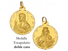 MEDALLA ESCAPULARIO DE ORO 18 KILATES 25 MM