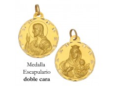 MEDALLA ESCAPULARIO DE ORO 18 KILATES 23 MM