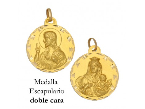 MEDALLA ESCAPULARIO DE ORO 18 KILATES 21 MM