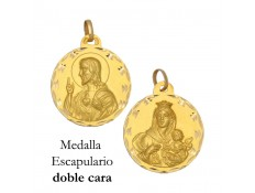 MEDALLA ESCAPULARIO DE ORO 18 KILATES 19 MM