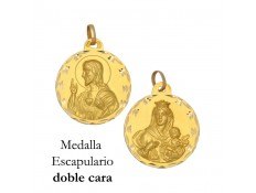 MEDALLA ESCAPULARIO DE ORO 18 KILATES 17 MM