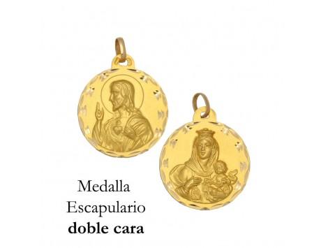 MEDALLA ESCAPULARIO DE ORO 18 KILATES 15 MM