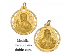 MEDALLA ESCAPULARIO DE ORO 18 KILATES 26 MM
