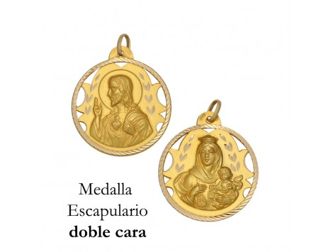 MEDALLA ESCAPULARIO DE ORO 18 KILATES 18 MM