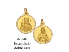 MEDALLA ESCAPULARIO DE ORO 18 KILATES 16 MM