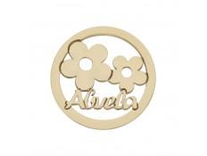 ABALORIO ABUELA Y FLORES EN ORO