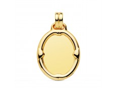 CHAPA LISA EN ORO 18 KILATES DE 31X23 MM.