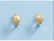 Pendiente de oro de 18K de corazón con circonita