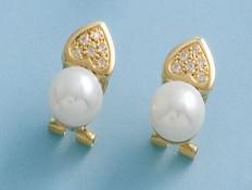 Pendientes oro corazón y perla